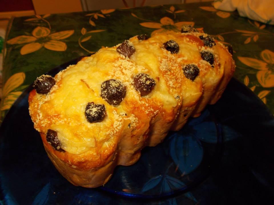 Plumcake salato con prosciutto cotto,scamorza affumicata e olive di Gaeta